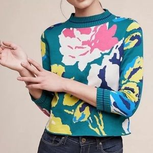 Anthropologie HWR Pink Green Floral Sweater